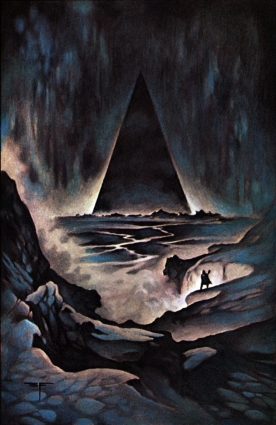 A traveller through a rocky landscape beholds a tall pyramid in darkness.