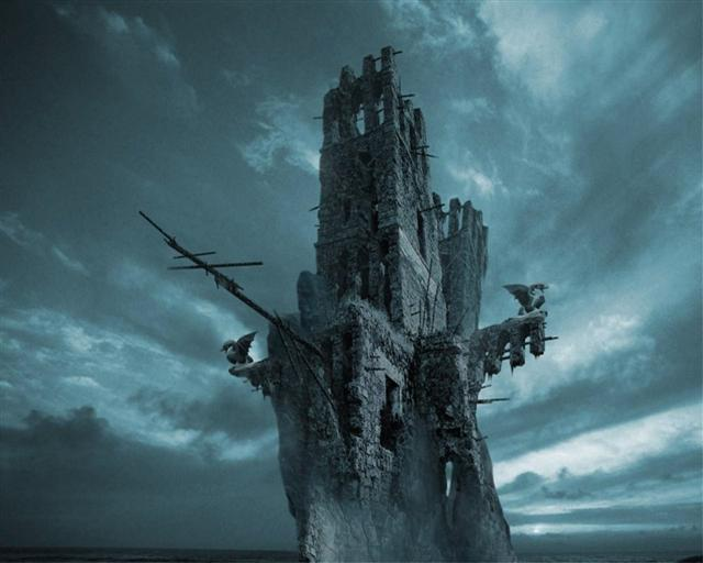 A strange broken tower with spars wrecked on it, beneath a stormy sky.