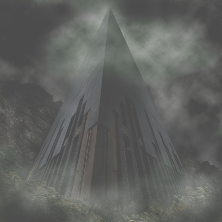 A steep pyramid in darkness and mist, seen from below.