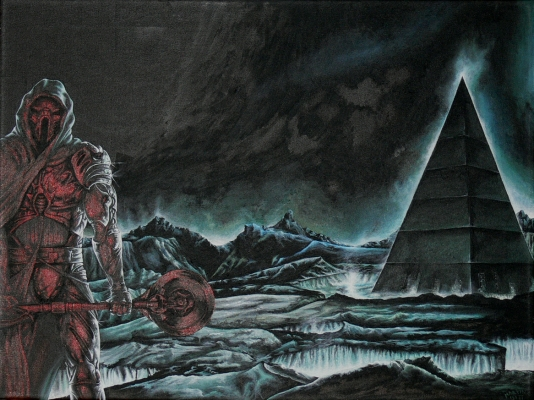 An armored man with a diskos, outside a tall pyramid in a dark land.