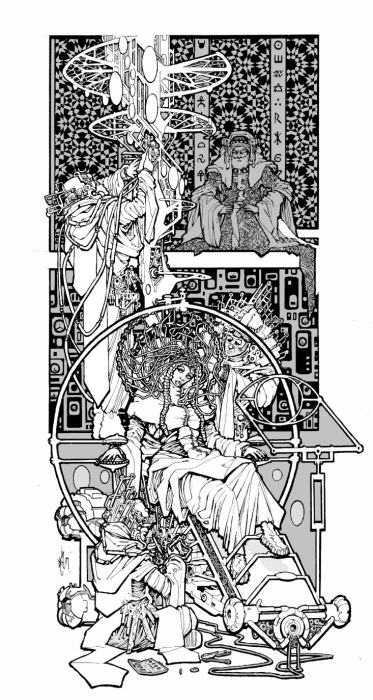 A young woman wearing an elaborate electronic headpiece that resembles a headdress, seated in a chair and surrounded by other machinery and technicians.