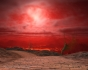 A red sky over a cobblestone road that leads past alien plants toward a land of lava.