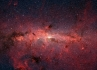 The center of the Milky Way, as seen by the Spitzer infrared space telescope, in red.