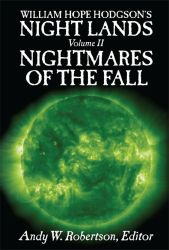 Cover for Night Lands Volume 2, showing a flaming green sun.