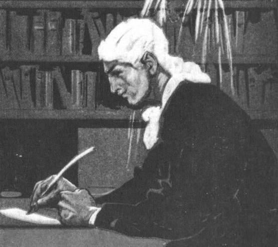 A man in old-fashioned dress writing with a quill at a desk.