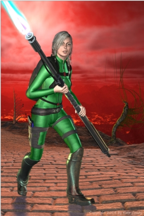 A blonde woman, dressed in green and holding a blazing plasma staff weapon, standing on a road against a red sky in a rocky volcanic wilderness. There are bizarre plants behind her.