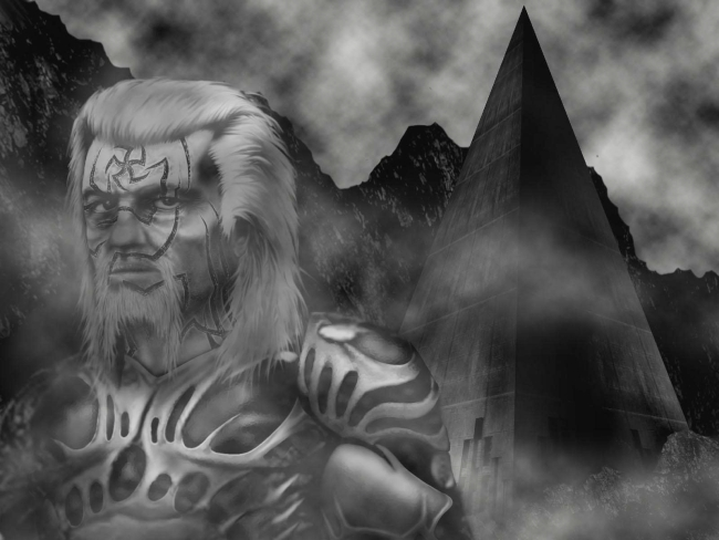 A portrait of a rugged, fair-haired bearded man with a strangely marked face, outside a tall pyramid, in a dark and desolate land.