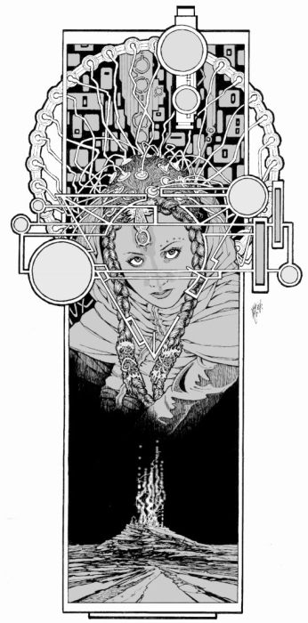 A young woman wearing an elaborate electronic headpiece that resembles a headdress, surrounded by other machinery.