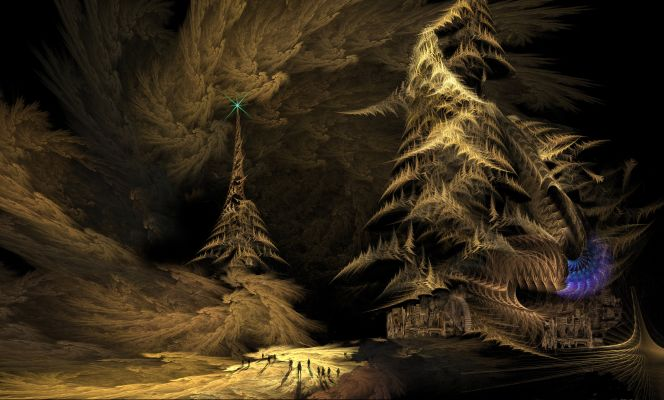 A tall pyramidal tower, crowned with a green light, in a surreal dark landscape.