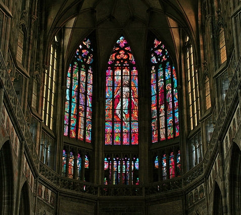 Stained glass windows in a cathedral.