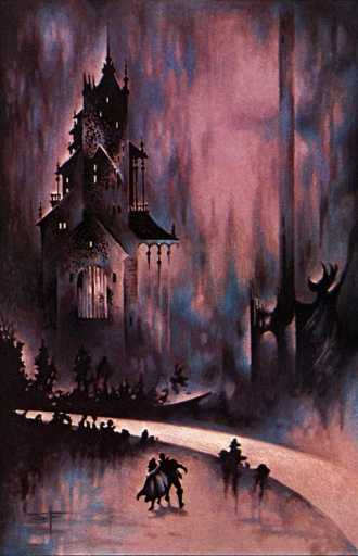 A man and a cloaked woman confront a high, ominous, gabled Gothic house, beside a road in darkness.